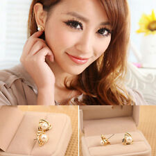 Triangle Imitation Pearl Gold Plated Jewelry Women Cute Ear stud Earrings