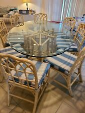 McGuire San Francisco Glass Top oval Table And 8 chairs