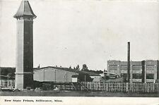 Stillwater MN~State Prison~Back Side~Tower~Smokestacks~Wood Fence~1910 B&W PC