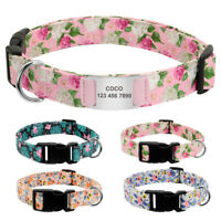 Floral Nylon Pet Dog Collars and Silde On Tag Engraved Personalised Quick Fit