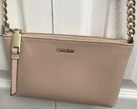 Calvin Klein Hayden Key Signature Top Zip Chain Pink Gold Shoulder Bag Leather