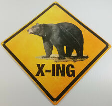 """Bear X-Ing Crossing Road Way Heavy Duty American Made 16"""" Square Metal Sign"""