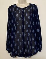Lucky Brand XL Blouse Navy Blue Paisley Long Sleeve Button Up Tunic Top