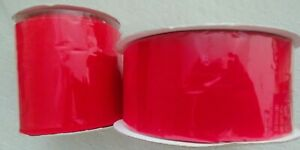 """35 yds. WIDE RED Acetate Satin/Rayon RIBBON; 2 1/2 & 4"""" wide Christmas wreaths"""