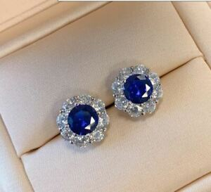 2.50Ct Round Cut Blue Sapphire & Diamond Halo Stud Earrings 14K White Gold Over