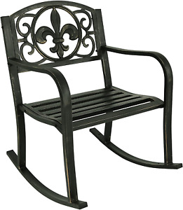 Durable Cast Iron Steel Rocking Chair Patio Accessories Lawn Improvement Supply