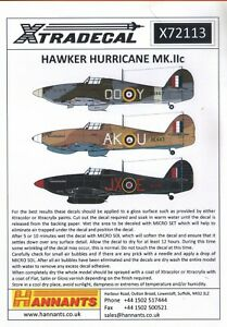 X72113 NEW Xtradecal 1:72 Hawker Hurricane Mk.IIc 18 Markings Options