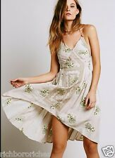 Free People Dress Leather Halter nude tan Embroidered Muted Print M NWT