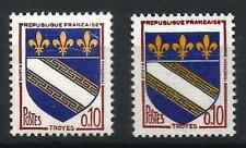 VARIETE s/T-P de France n° 1353 (blason de Troyes) armoirie décalée.Port compris