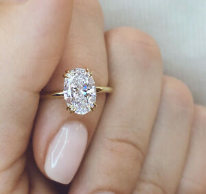 3.06ct Oval Solitaire Beautiful Diamond Engagement Ring Solid 14K Yellow gold