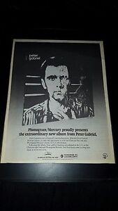 Peter Gabriel Rare Phonogram Mercury Rare Original Promo Poster Ad Framed!