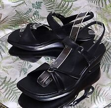 CLARKS BLACK LEATHER SLINGBACK STRAPPY DRESS SANDALS SHOES US WOMENS SZ 6 M