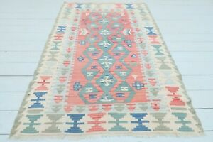 "Doormat, Turkish Kayseri Kilim Rug, Bedroom Rug Red Blue Color Small Rug 41""x65"""