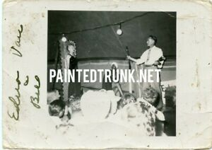 antique photo 1940s? knife throwing circus sideshow from mabel darpel 2.5x3.5