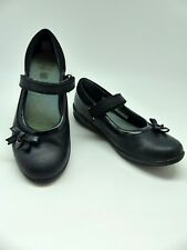 Clarks Girls Black Leather Mary Jane School Shoes with heart detail UK 1E