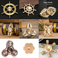 Brass Fidget Hand Spinner Finger Desk EDC Stress Focus ADHD Autism Toy Gyro