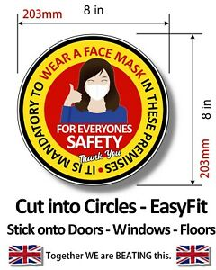 WEAR FACE MASKS SIGNS - SAFETY STICKERS - Multi Packs - EasyFit Circles