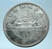 1961 CANADA w UK Queen Elizabeth II Voyagers Genuine Silver Dollar Coin i77911