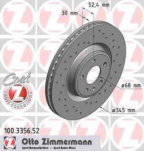 Disque de frein avant ZIMMERMANN PERCE 100.3356.52 AUDI A4 2.0 TFSI flexible fue