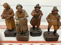 4 Vintage ANRI Italian Wood Carvings Women Knitting Umbrella Man With Pipe