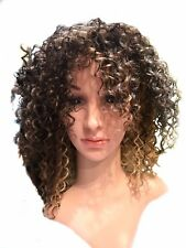 Highlighted Brown Curly Full Wig Afro Kinky Hair Mixed