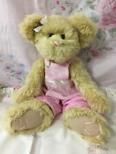 "The Bearington Collection 13"" Plush Teady Bear Jointed Soft Fuzzy Pink Jumper"