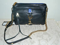 "NWT $200 Rebecca Minkoff MAC MINI Crossbody Bag Clutch Black Leather Initial ""B"""