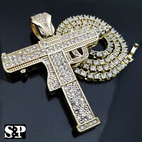 "Hip Hop Uzi Machine Gun & 18"" Full Iced 1 ROW DIAMOND Tennis Choker Chain Set"