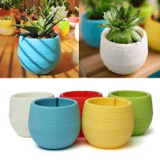 Colourful Mini Round Plastic Plant Flower Pot Garden Home Office Decor Planter White