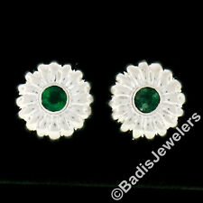 14k Oro Blanco 0.32ctw Engaste Emerald Abovedado Acanalado Paraguas