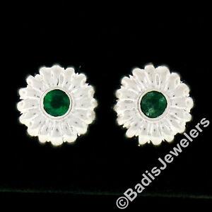 14k White Gold 0.32ctw Bezel Emerald Domed Grooved Umbrella Flower Stud Earrings