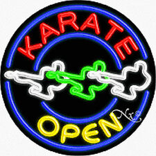 "Brand New ""Karate Open"" 26x26x3 Round Real Neon Sign w/Custom Options 11154"