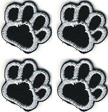 "5/8"" five eighths inch Lot of 4 Black White Dog Animal Paw Print Patch"