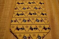 Tommy Hilfiger Men's USA Made Yellow/Gold Star Flag Theme Print Silk Necktie NWT