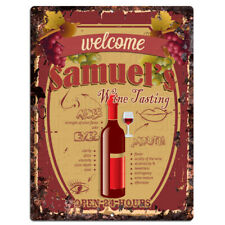 PMWT0060 SAMUEL'S Wine Tasting Rustic Tin Chic Sign Home Decor Gift Ideas