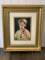 Framed Vintage Calendar Lithograph Glamour Girl