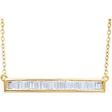 Diamante Baguette Barra 40,6 -45 , 7cm Collar en 14k ORO AMARILLO ( 1/2 Ct. TW