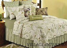 King Quilt Set Oversize Cotton Quilt + Shams Nature Ivory Green Ferns Butterfly