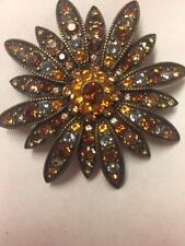 Huge Vintage Joan Rivers Amber Brown Rhinestone Flower Statement Brooch Pin