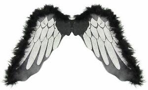Engelsflügel schwarz mit silber Halloween Engel Flügel schwarzer Engel Horror To