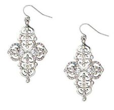 Katy Perry Silver Aurora Borealis Crystal Filigree Drop Earrings Prism New