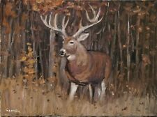 Sean Wu original oil painting 12x16 on stretched canvas, deer