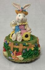 Easter Mama and Baby Bunny Rabbit in Garden - plays music