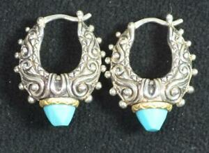 Barbara Bixby Carved Turquoise Hoop Earrings Sterling with 18K accents