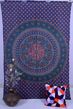 Hippie Twin Bedcover Dorm Bedspread Decor Indian Mandala Printed Blue Tapestry