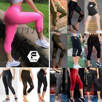 US Womens Capris Leggings Yoga Pants Pocket High Waisted Workout 3/4 Below Knee