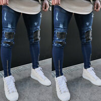Men Ripped Biker Skinny Jeans Frayed Destroyed Trousers Casual Denim Pants S-3XL
