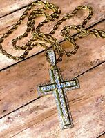 Mens Cross Jesus Crucifix 14K Gold Iced Pendant Rope Chain Religious Necklace