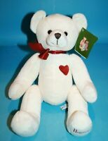 "Harrods Christmas Teddy Bear 13"" Soft Toy Ivory Plush Burgundy Bow Heart 2009"