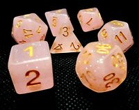 RPG Würfel Set 7-teilig Poly DND Tabletop  dice4friends w4-w20 Coral Glitter